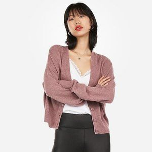 NWT Express Mauve Relaxed V-Neck Cardigan Size XL